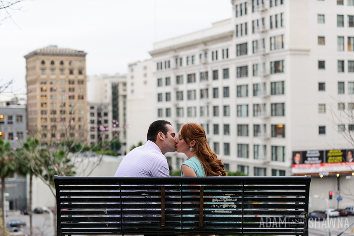 500 days of summer bench, angles knoll park, disney concert hall, disney concert hall engagement session, reflection
